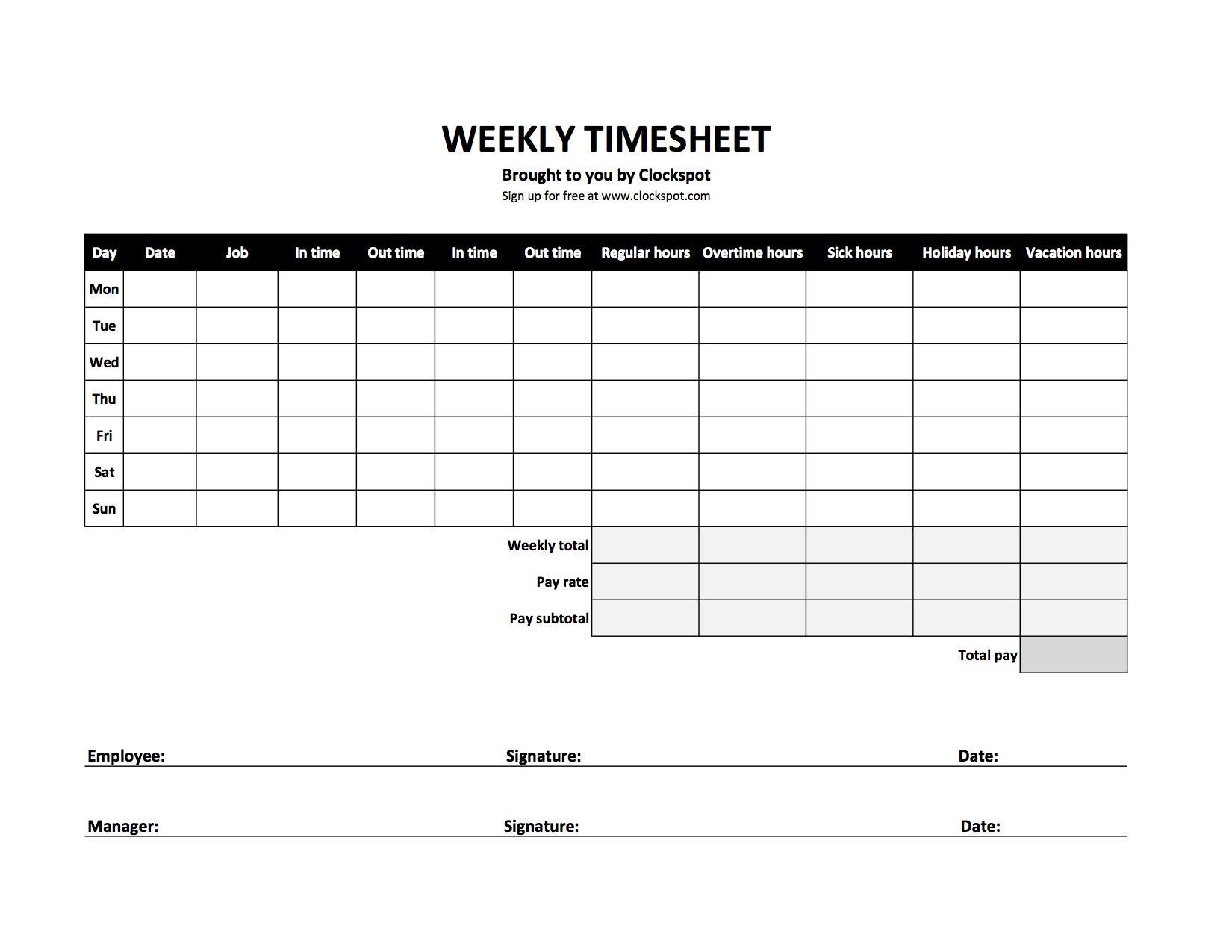 Payroll Timesheet Calculator | Free Time Tracking Spreadsheets Excel Timesheet Templates
